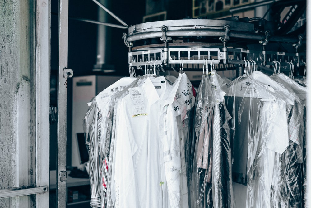 Dry clean cotton clothes hanging