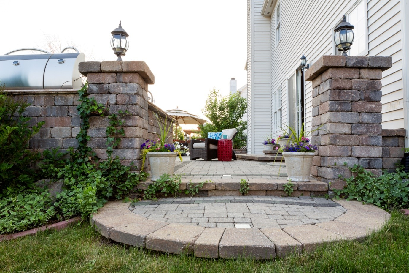 entrance to an outdoor stoned patio