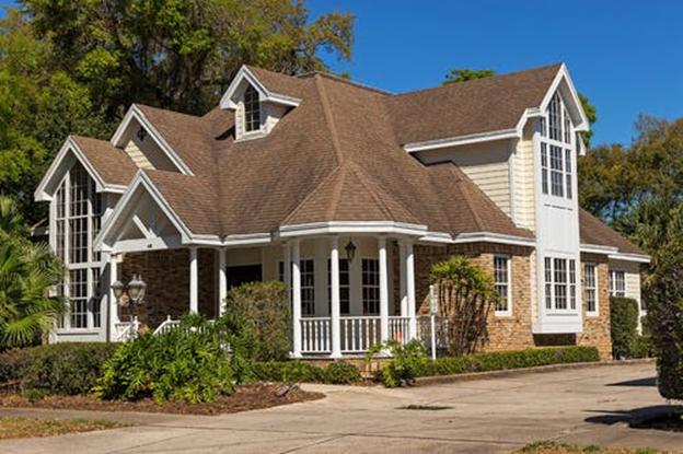 a house with professionally repaired roofs