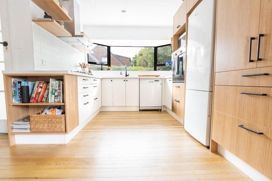 Hardwood floor with wall cabinets